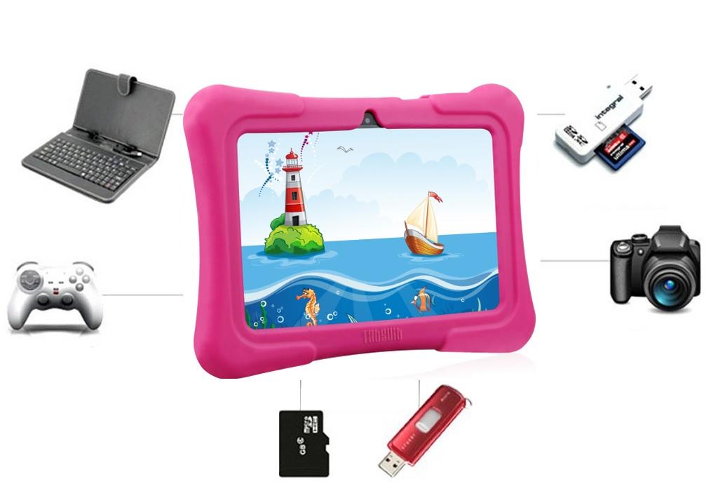 Kids Plus táblagép bővíthető memóriakártyával, billentyűzettel, USB csatlakozás, WiFi és Bluetooth kapcsolat