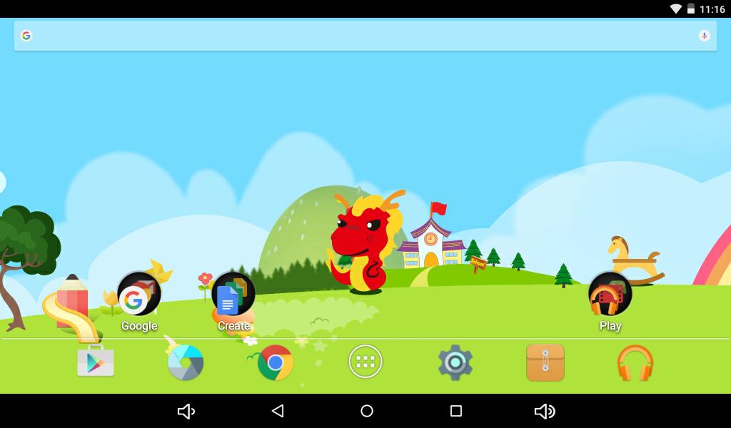 Gyerek táblagép kezdő képernyője, magyar nyelvű szoftverrel