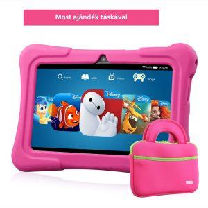 7″ Kids Plus rózsaszín gyerektablet 16Gb (18x12cm)  ajándék táskával