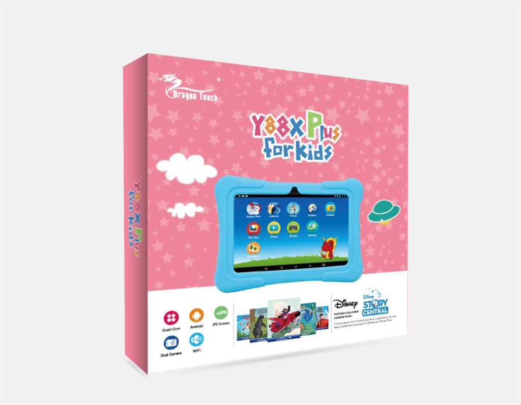 Kids Plus rózsaszím gyerektablet csomagolása elegáns dobozban
